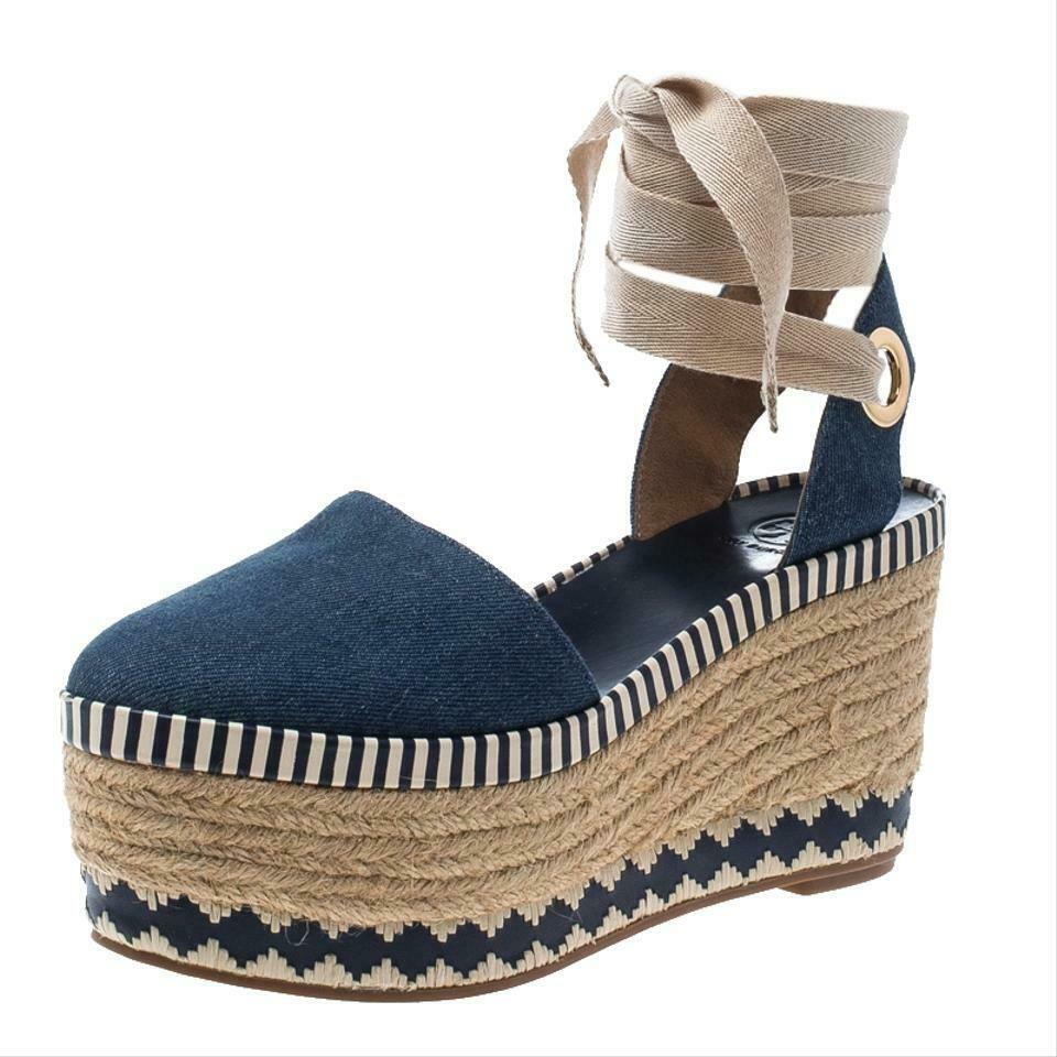 Tory Burch DANDY Wedge Sandals Blue Denim Espadrilles Pumps Shoe 10.5