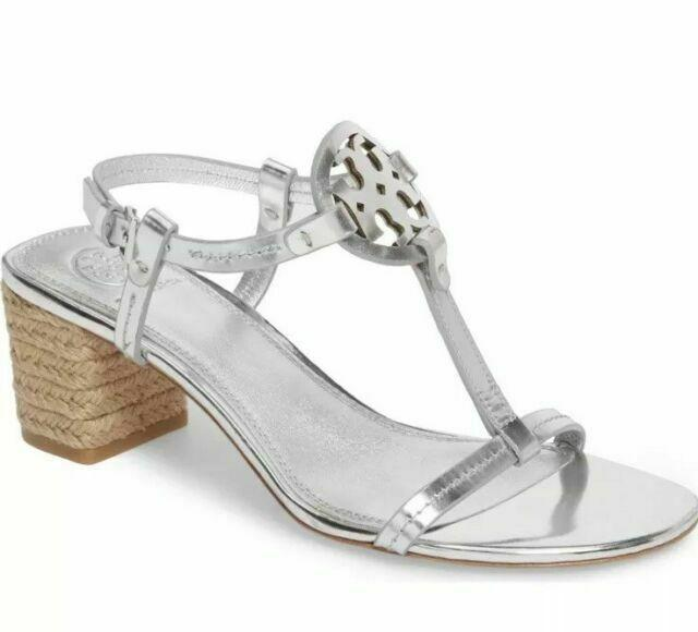 $285 Tory Burch Miller Metallic Espadrilles Sandals Silver Slingbacks 7 -- 37