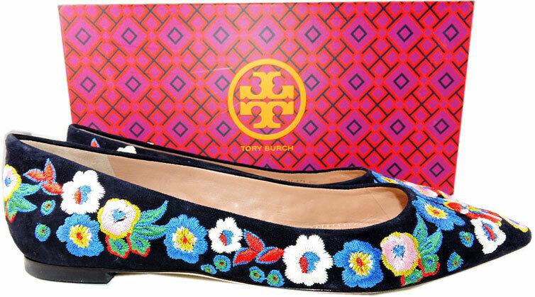 Tory Burch Rosemont Embroidered Ballet Flats Black Suede Shoe 6.5 Pumps