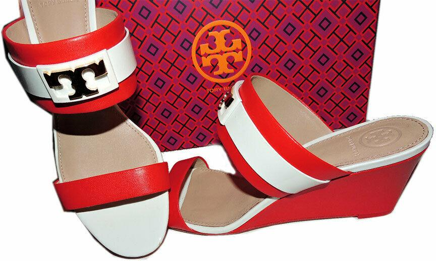 Tory Burch Maritime Wedge Slide RED Striped Sandals Shoe Clogs 8 - 38 T Gold