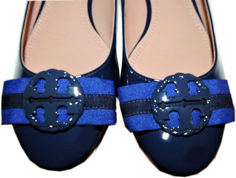 Tory Burch Maritime Ankle Wrap Flats Cobalt Blue Ballet Ballerina Bow Shoes 7.5