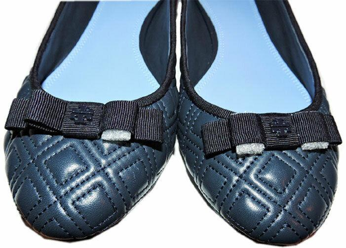 Tory Burch Marion Quilted Ballet Flats Ballerina Bow Shoes Navy Blue 8.5