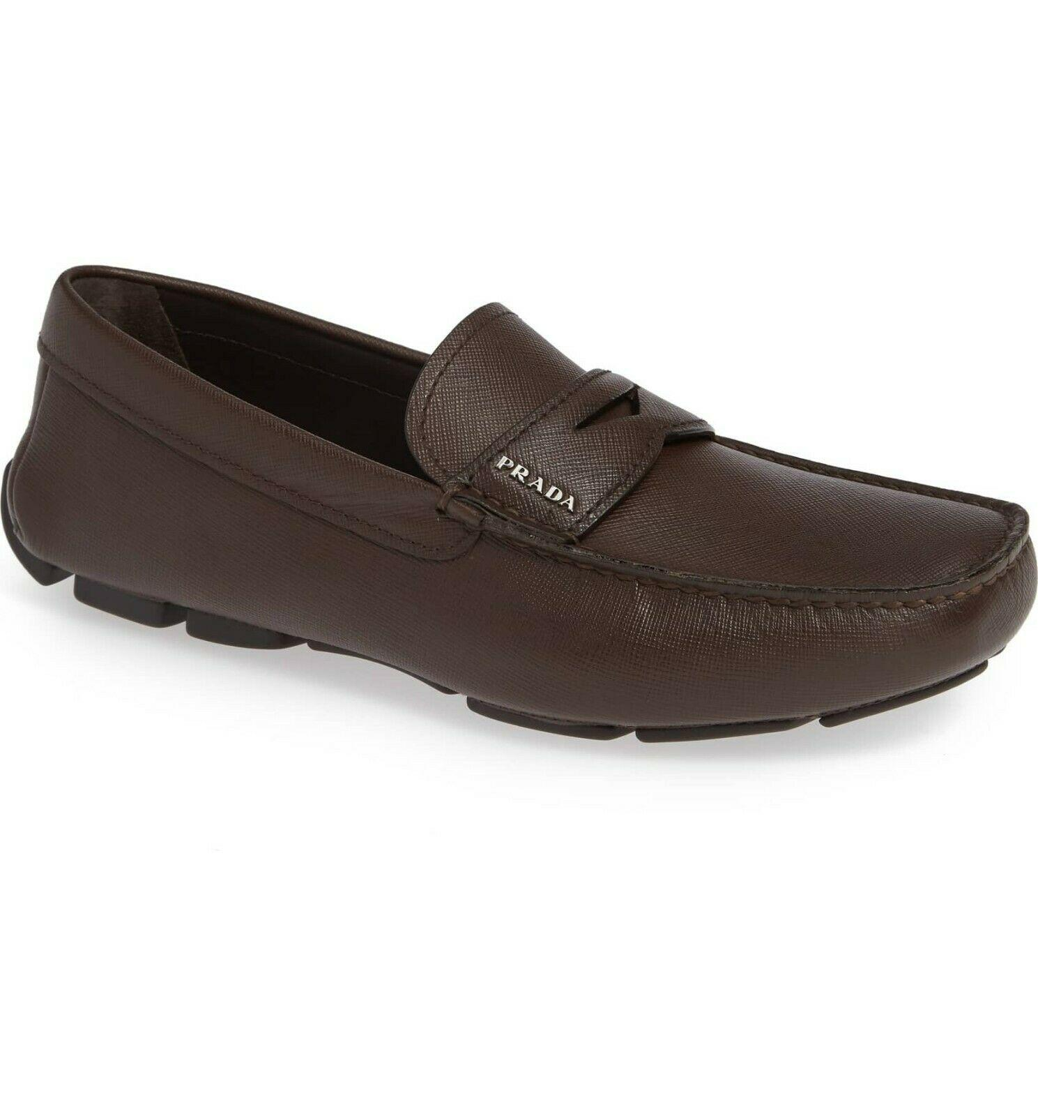 PRADA Brown Saffiano Leather Loafers Shoes Moccasins 8 Uk-9 US Loafers