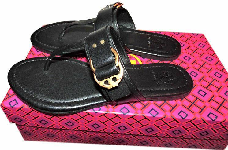 Tory Burch Marsden Flat Thongs Sandals Black Leather Shoe Flip Flops 12