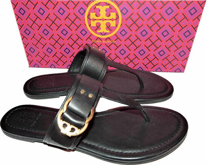Tory Burch Marsden Flat Thongs Sandals Black Leather Shoe Flip Flops 7.5