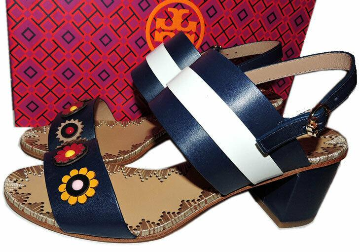 $350 Tory Burch Blue Marguerite Two Band Sandals Flower Slingbacks 8