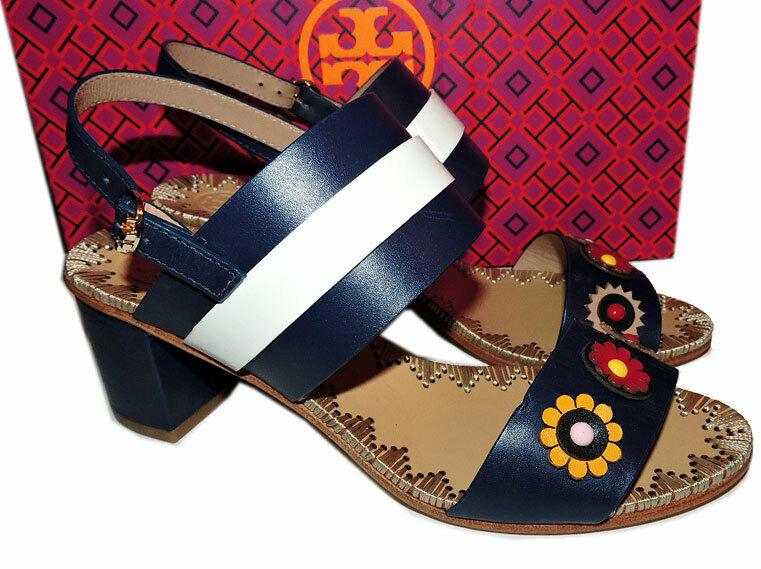 $350 Tory Burch Blue Marguerite Two Band Sandals Flower Slingbacks 7