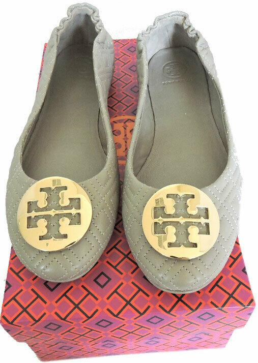 Tory Burch Minnie Reva Ballerina Flats Gray Quilted Leather Ballet Shoe 8.5
