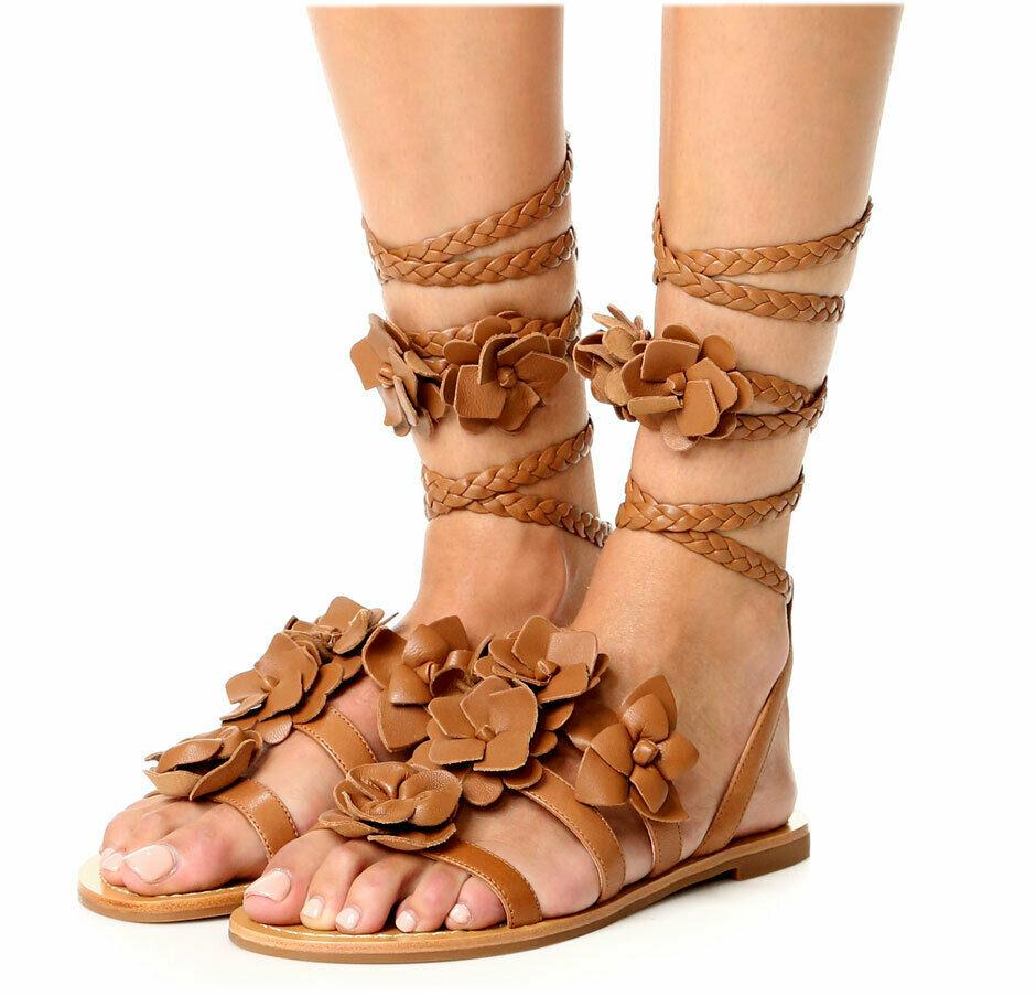 $325 Tory Burch Blossom Gladiator Sandals Tan Floral Shoes Flats Flops 7.5 Slide