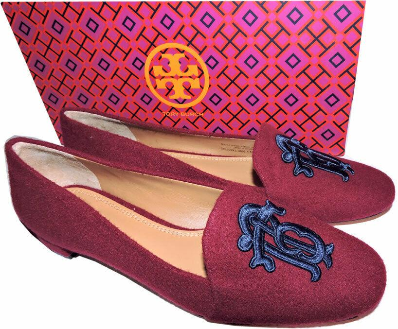 Tory Burch Antonia Monogram Loafer Ballet Flats Ballerina Shoes Burgundy Blue 8