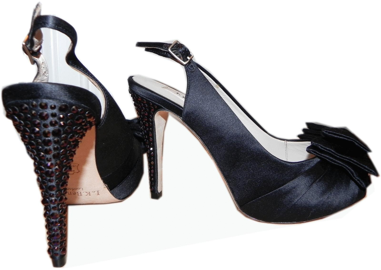 $445 L.k. Bennett Black Satin Bow Crystals Pump Slingback Red Carpet Shoe 8- 39