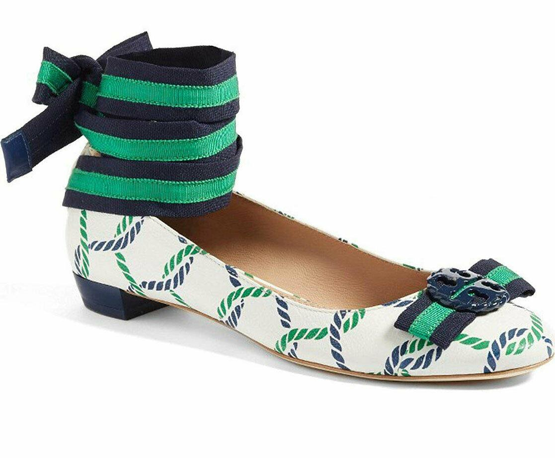 Tory Burch Maritime Ankle Wrap Flats Isle Ribbon Ballerina Bow Shoes 10.5