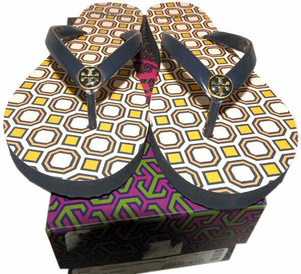 Tory Burch Logo Thin Flip Flop Rubber Thong Sandals Flats Floral Jelly 11