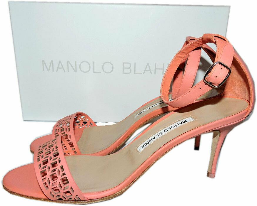 Manolo Blahnik Chaos Cuff Sandals Salmon Leather Laser Cut Ankle Strap Pumps 39 - Click Image to Close