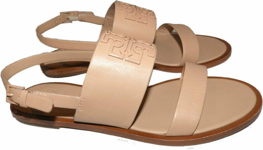 Tory Burch Melinda Powder Coated Flat Two Beands Sandals Slingback Shoes 7.5 - Click Image to Close
