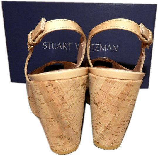 $460 Stuart Weitzman Vent Peep Toe Wedge Slingback Sandals Cork Nude Beige 9.5 - Click Image to Close