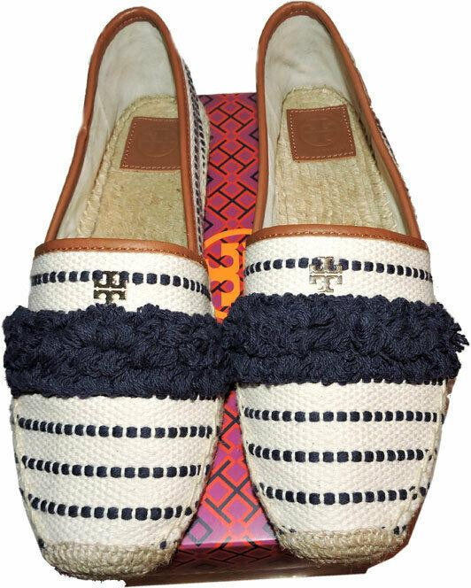 Tory Burch Blue Navy Shaw Fringe Flats Slip On Loafer Espadrilles Shoe 9.5 - Click Image to Close