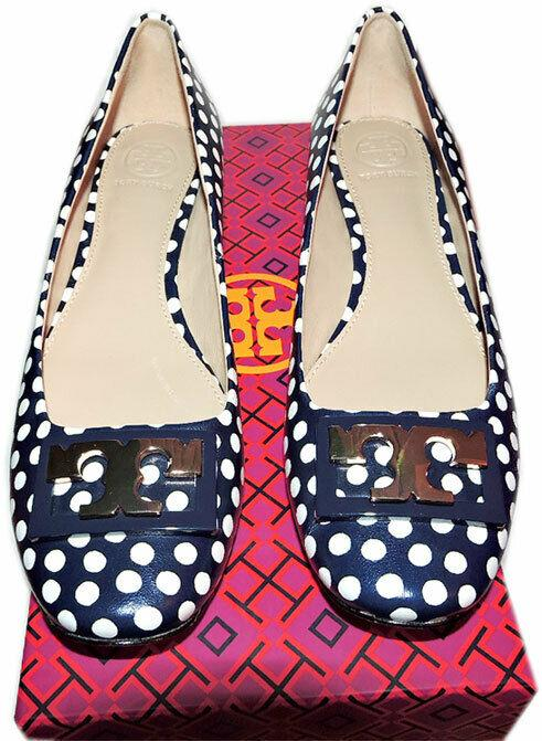 Tory Burch ' Gigi ' Gold Logo Low Heel Pumps Polka Dot Navy Shoes 10.5 - Click Image to Close