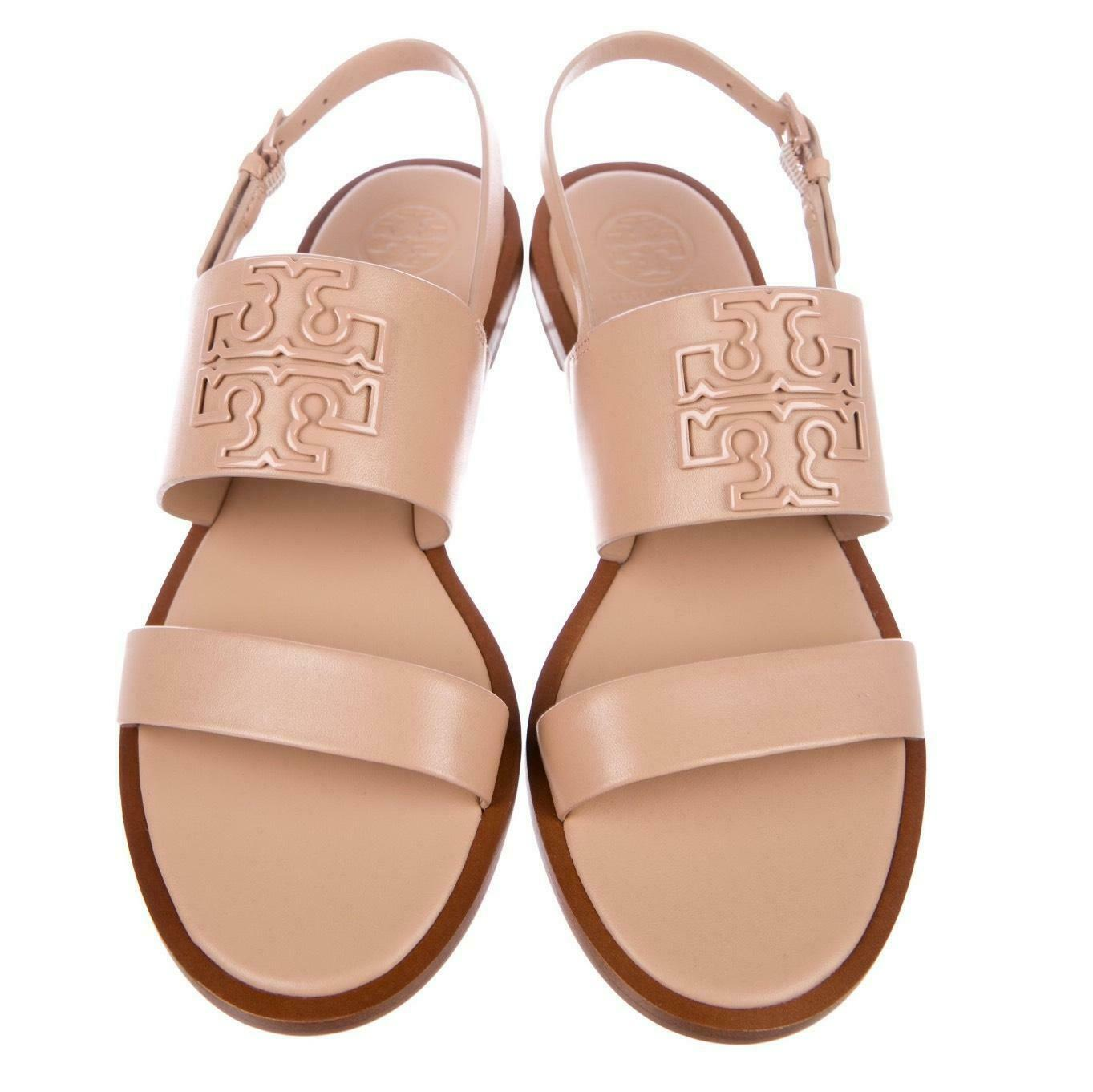 Tory Burch Melinda Powder Coated Flat Two Beands Sandals Slingback Shoes 8 - Click Image to Close