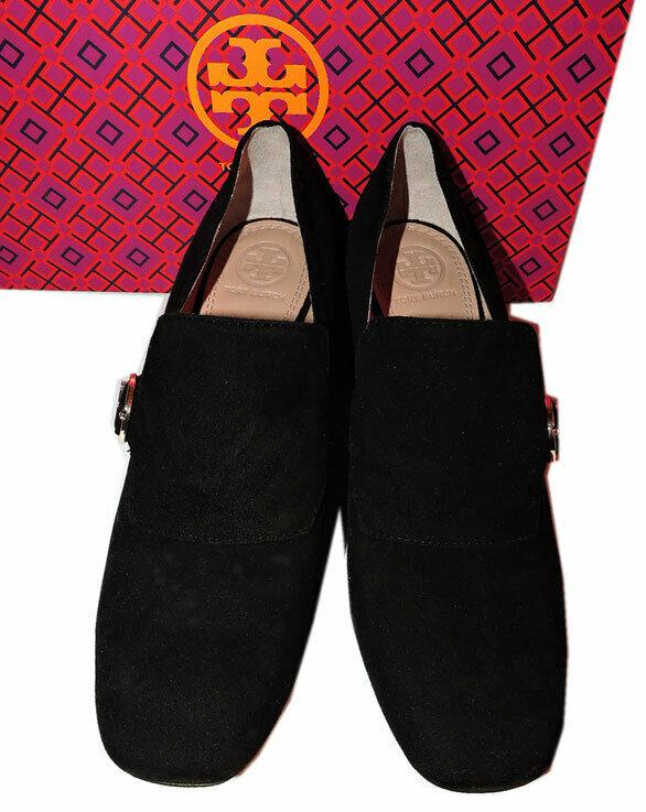 Sz 7.5 Tory Burch Tess Loafer Pumps Shoe Black Suede Slip On Moccasins - Click Image to Close