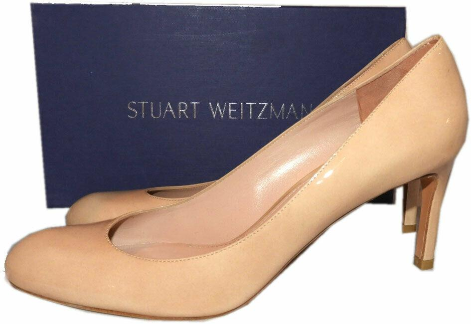 Stuart Weitzman 'MOODY' Almond Toe Pump Patent Leather Nude Beige Shoes 9.5 N - Click Image to Close
