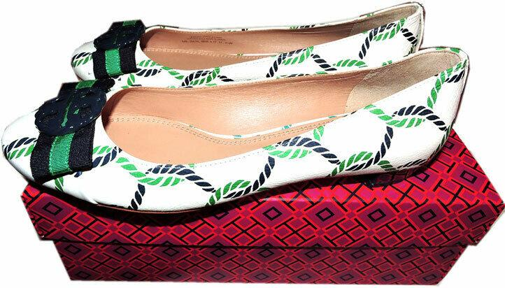 Tory Burch Maritime Ankle Wrap Flats Isle Ribbon Ballerina Bow Shoes 8 - Click Image to Close