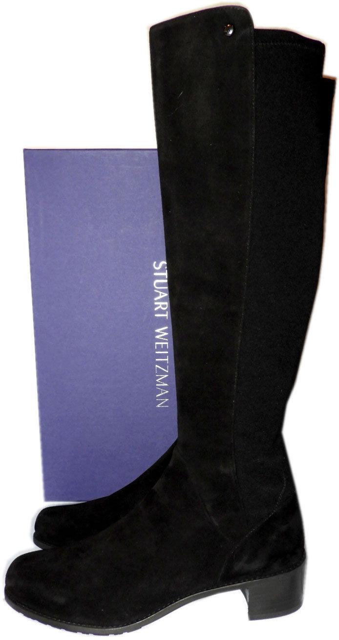 Stuart Weitzman MezzaMezza High Knee Boots Black Flat Suede Booties Shoe 9.5