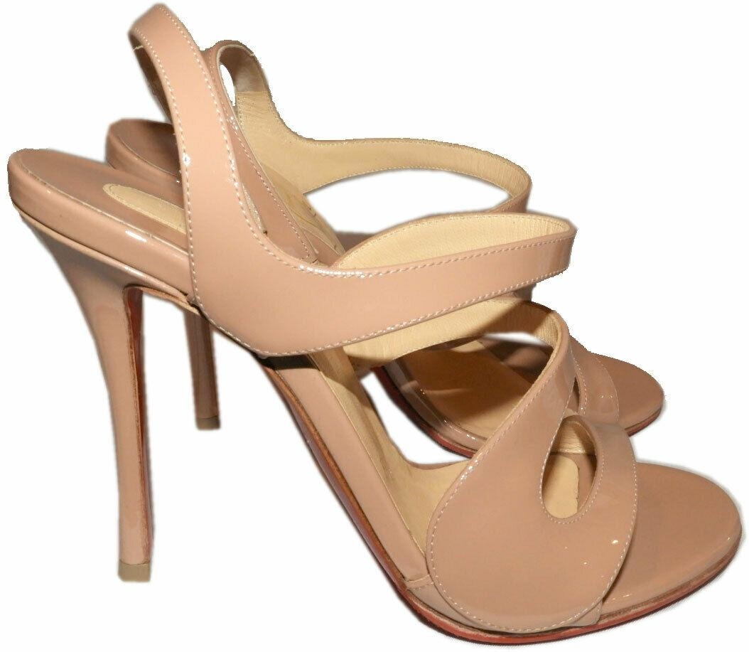 $895 Christian Louboutin Vavazou Slingback Sandals Shoes Nude Beige Pumps 38 - Click Image to Close