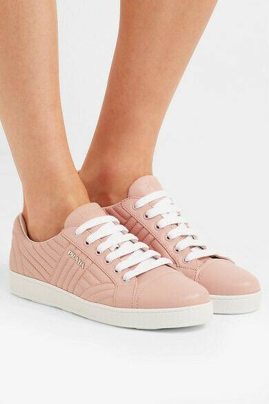 Prada Quilted Low Top Blush Leather Lace Up Sneakers Flat Shoes 39 New