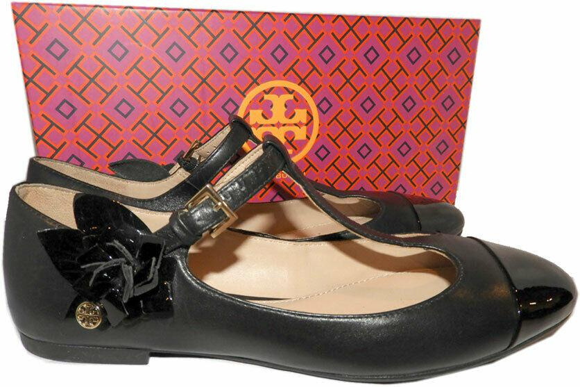 Tory Burch Black Leather Blossom Flower T-strap Ballerina Flats Ballet Shoe 7.5