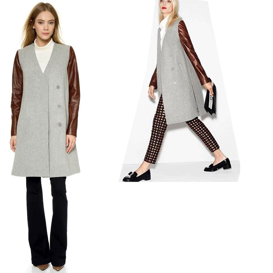 $895 Theory Compact Wool Quennel Coat Removable Sleeves Vest Jacket Sz. L