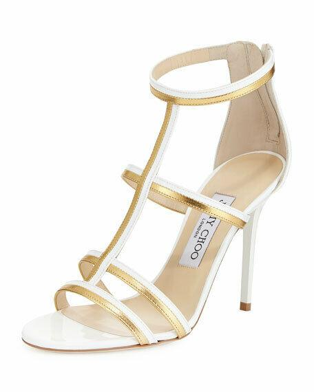 Jimmy Choo Thistle T-Strap Sandals Caged Gladiator White / Gold Shoe 38