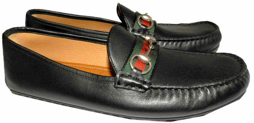 GUCCI Black Leather Loafers Web & Horsebit Moccasin Driving Shoes 9 Uk- 10 Us