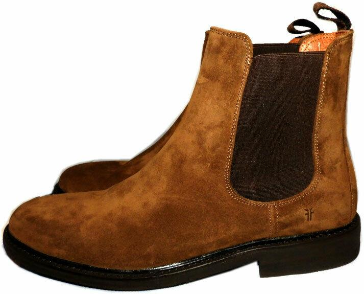 Frye Weston Suede Chelsea Boot Chestnut Gored Slip On Ankle Booties Sz 10
