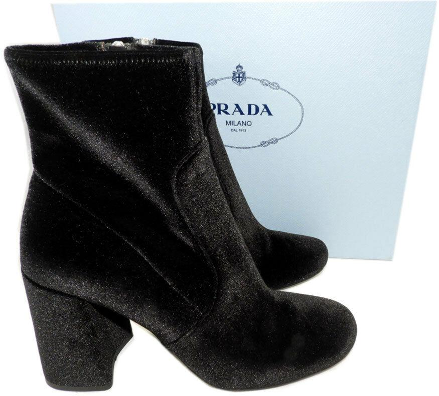 $850 Prada Black Stretch Velvet Fashion Ankle Boots Chunky Heel Booties 38- 7.5