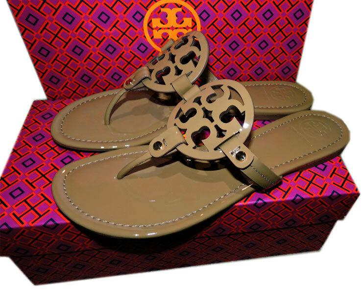 Tory Burch Miller Thongs Tan Pat Leather Shoes Flip Flops 7 Slides Mules Sandals
