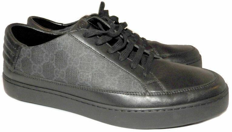 GUCCI Men's Common Supreme Low Top Sneakers Black Leather Shoe 9.5 Uk- 10.5 US