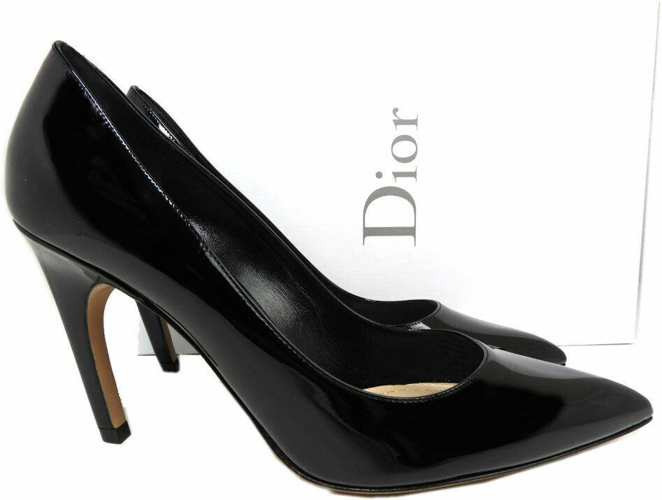 Sz 37 Christian Dior Black Patent Leather Pointy Toe Classic Pumps Shoes