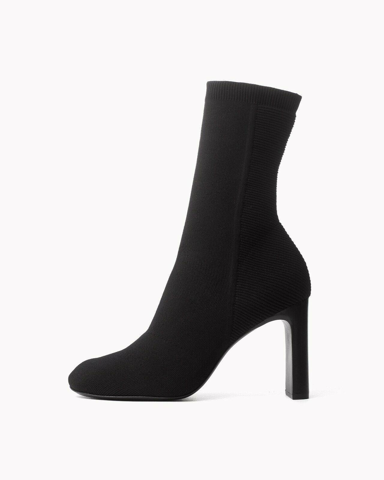$575 Rag & Bone ELLIS Black Stretch Ellis Knit Boots Ankle Booties 38.5
