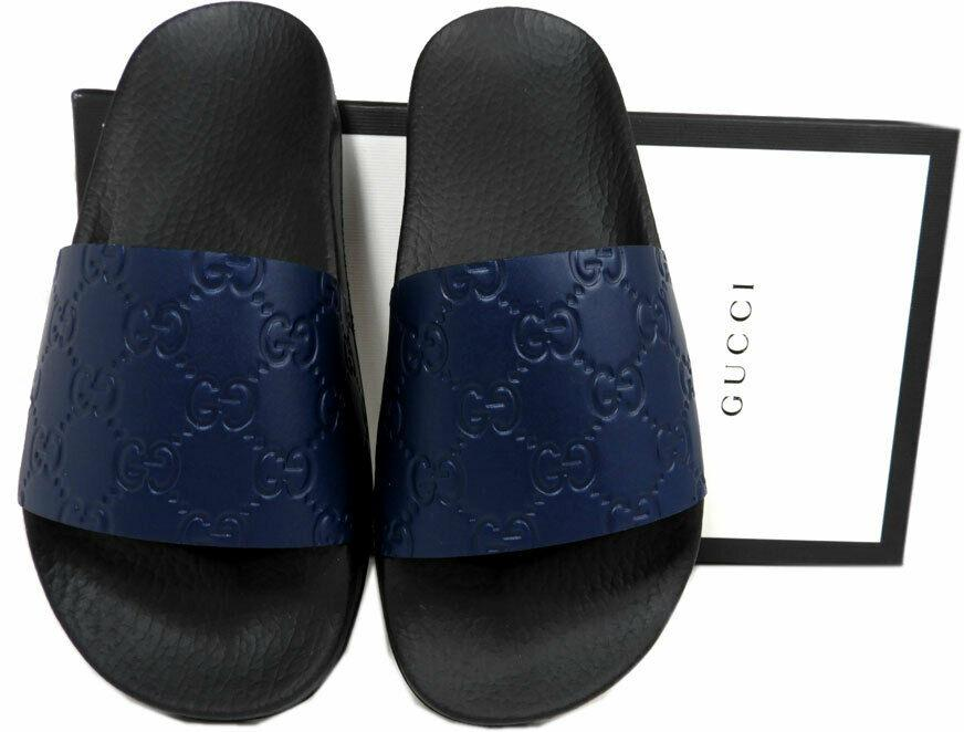 GUCCI Signature Navy Blue Agate Slides Mules Clogs Shoes 35 Beach Slippers Shoes