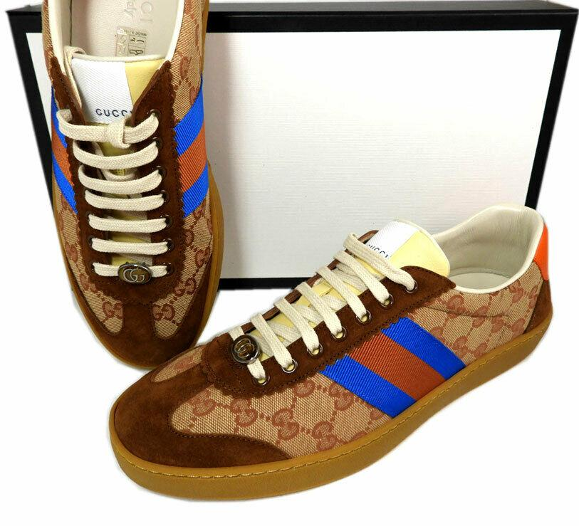 10.5 US / 9.5 G GUCCI Brown GG Logo Supreme JBG Retro Sneakers Men's Shoes