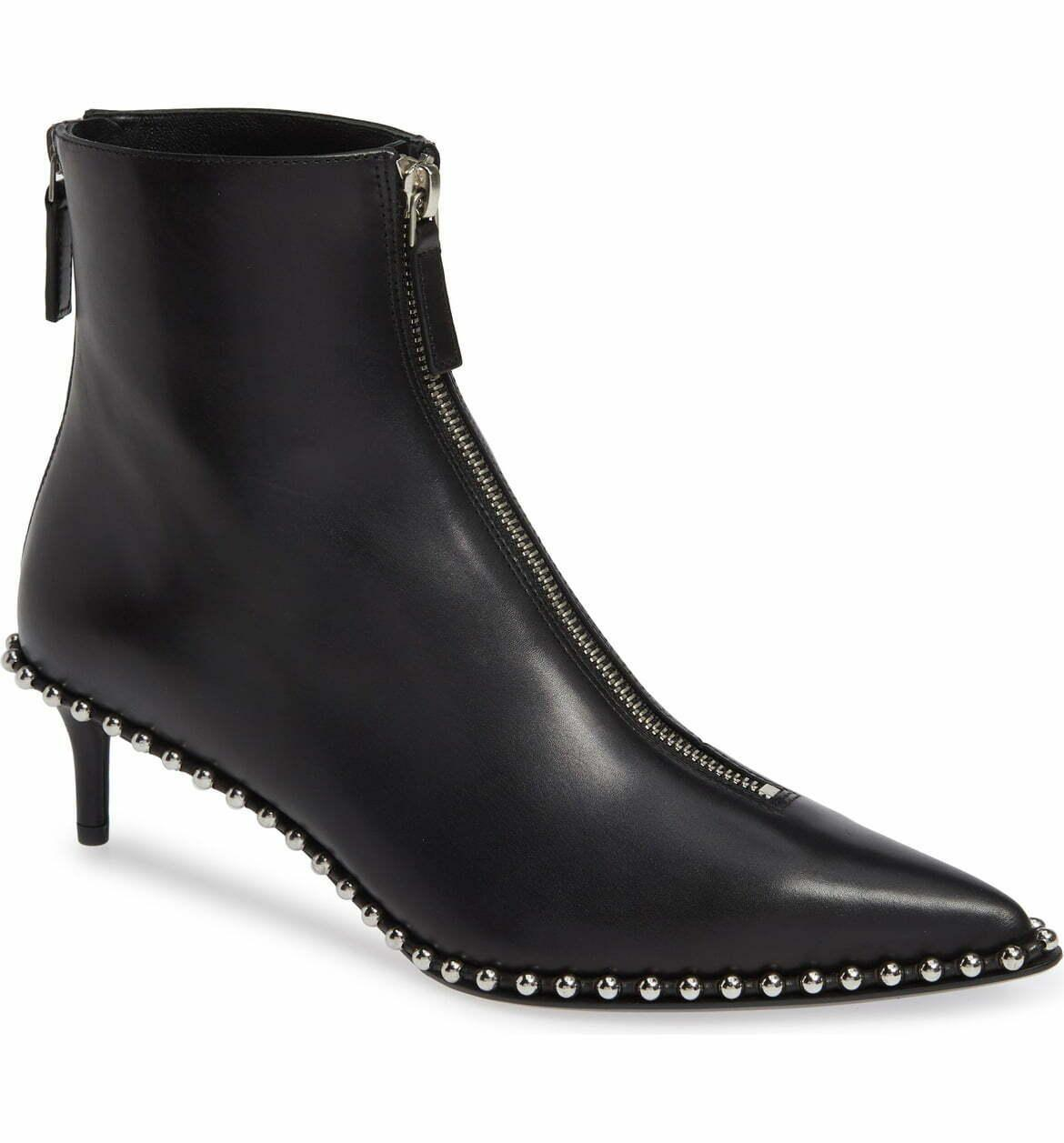 Alexander Wang ERI Studded Pointy Toe Boots Ankle Booties 38.5 Kitten Heel