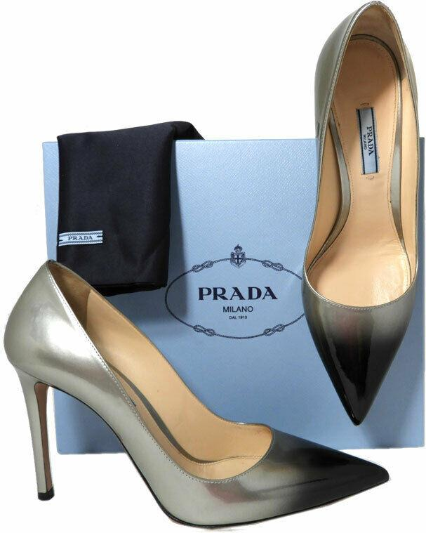 Prada Gray Black Degrade Patent Leather Classic Pointy Toe Pumps Shoes 40 Ombre