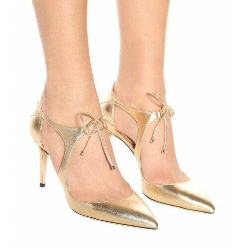 Jimmy Choo VANESSA Rose Gold Pumps Heels Pointy Toe Shoes 38.5