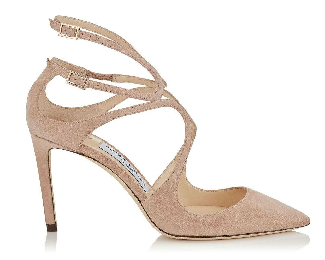 Jimmy Choo Lancer Strappy Pumps Heels Beige Nude Suede Shoes 40