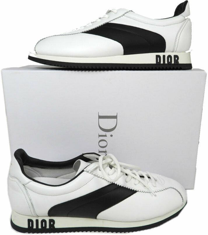 Christian Dior Diorun White Leather Lace Up Low Top Sneakers Shoe 40