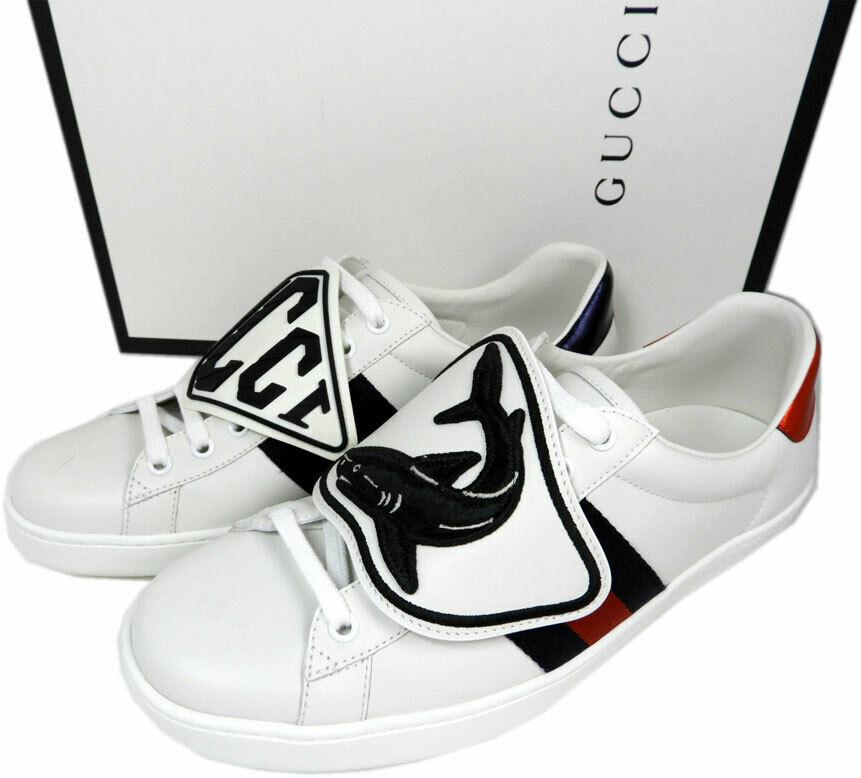 GUCCI Men's New Ace Sneaker Shark Patches Low Top Sneakers 8 UK- 9 US Shoes