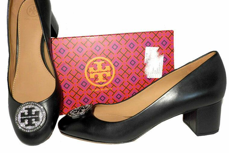 Tory Burch Liana Embellished Medallion Pumps Crystals Logo Low Heels Shoes 6