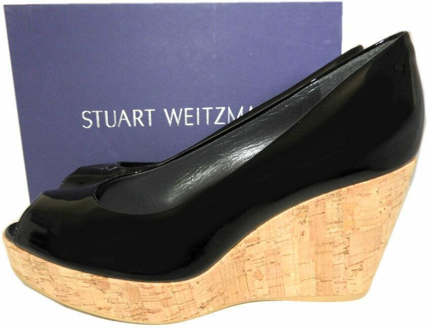 Stuart Weitzman ANNA Peep Toe Wedge Pumps Black Patent Leather Cork Shoe 9.5
