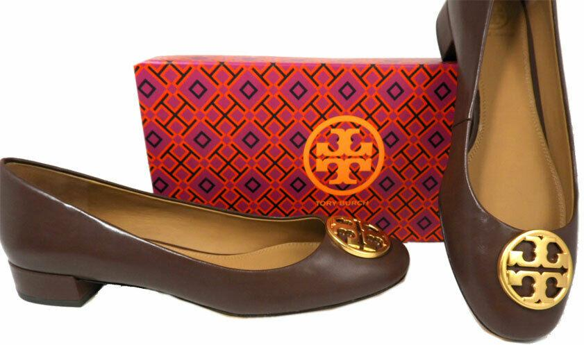 Tory Burch BENTON Gold Logo Low Heel Pumps Brown Leather Shoes 7.5